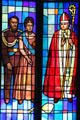 Kamehameha IV & Queen Emma with a Bishop on St. Andrew's Cathedral's Great West Window. Honolulu, HI.