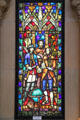 Stained glass window of King Kamehameha IV with British explorers in St. Andrew's Cathedral. Honolulu, HI.