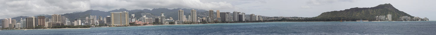 Panorama of Waikiki from Prince Hotel to Diamond Head volcanic cone.