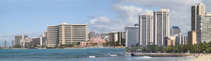 Panorama of Waikiki along shoreline from Kapi''olani Park.