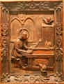Philippine wood carving of St. Cecilia Playing an Organ at Honolulu Academy of Arts. Honolulu, HI.