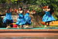 Hawaiian dancers in Rainbows of Paradise show at Polynesian Cultural Center. Laie, HI.