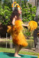 Tahitian dancer in Rainbows of Paradise show at Polynesian Cultural Center. Laie, HI.