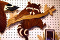 Wooden raccoon wall decoration at Schanz Furniture Shop. South Amana, IA.