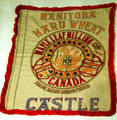 Maple Leaf Milling wheat sack from Manitoba, Canada which was returned embroidered to Hoover to show gratitude for the relief efforts he lead in World War I. West Branch, IA.