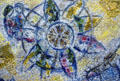 Marc Chagall's mosaic detail of sunburst with young couple at Chase Tower. Chicago, IL.