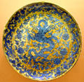 Chinese Ming dynasty porcelain plate with blue dragon at Art Institute of Chicago. Chicago, IL.