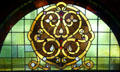 Stained glass window attrib. to Louis Sullivan from Auditorium Building at Stained Glass Museum. Chicago, IL.