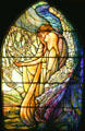 Stained glass window of Guiding Angel by Tiffany Studios at Stained Glass Museum. Chicago, IL.