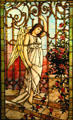 Stained glass window of Angel at Gates of Heaven from Philadelphia at Stained Glass Museum. Chicago, IL.