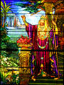Stained glass window of King Solomon by Tiffany Studios at Stained Glass Museum, Chicago, IL
