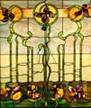Stained glass window with Art Nouveau Irises at Stained Glass Museum, Chicago, IL