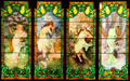 Stained glass window with Art Nouveau Four Seasons at Stained Glass Museum. Chicago, IL.