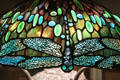 Detail of dragonfly shade attrib. Clara Pierce Wolcott Driscoll of Tiffany Studios at Art Institute of Chicago. Chicago, IL