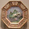 Octagonal porcelain plate painted with water lilies by Charles F. Hurten for Copeland Porcelain Factory of England at Art Institute of Chicago. Chicago, IL.