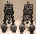 Pair of cast iron andirons from England with coat of arms for House of Stuart at Art Institute of Chicago. Chicago, IL.