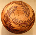 Pomo tribe twined basketry bowl by Sally Burris of Northern California at Art Institute of Chicago. Chicago, IL.