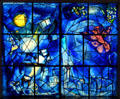 America stained glass window by Marc Chagall at Art Institute of Chicago. Chicago, IL.