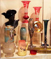 American glass & porcelain vases & decorative objects at Sedgwick County Historical Museum. Wichita, KS.