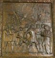 Founding of Natchitoches by St. Denis bronze door panel in Louisiana State Capitol. Baton Rouge, LA.