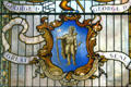 Stained glass of current seal with Indian of the state of Massachusetts in State House. Boston, MA.