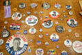 Kennedy presidential campaign buttons in JFK Library. Boston, MA.