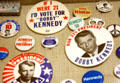 "Robert ""Bobby"" Kennedy 1968 Presidential campaign buttons in JFK Library. Boston, MA."