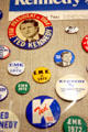 Ted Kennedy campaign buttons in JFK Library. Boston, MA.