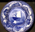 Souvenir plate of New Bedford with Whaleman statue & public buildings at New Bedford Whaling Museum. New Bedford, MA.
