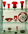 Collection of ruby glass made by Pairpoint in New Bedford at New Bedford Whaling Museum. MA.