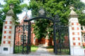 Smith College gates installed to commemorate the work of the college's relief unit in WW I, replicas of gates from France. Northampton, MA.