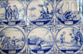 Delft tiles with biblical scenes around fireplace in Mayflower Society House. Plymouth, MA.