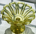 Pressed glass canary loop pattern compote with base at Sandwich Glass Museum. Sandwich, MA.