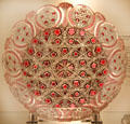 Cut ruby-overlay dish by Eugene Perrote of Boston & Sandwich Glass Co. at Sandwich Glass Museum. Sandwich, MA.