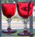 Blown ruby goblets by Sandwich Co-Operative Glass Co. at Sandwich Glass Museum. Sandwich, MA