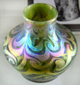 Trevaise iridescent vase by Alton Manufacturing Co. of Sandwich at Sandwich Glass Museum. Sandwich, MA.