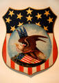 Painted tin patriotic shield at Heritage Plantation. Sandwich, MA.