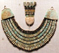 Ancient Egyptian beaded broad collar at Museum of Fine Arts. Boston, MA.