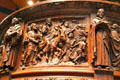 Carving of Palm Sunday procession on pulpit of Trinity Church. Boston, MA.