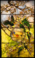 Parakeets & Gold Fish Bowl stained glass window by Louis Comfort Tiffany of New York City at Museum of Fine Arts. Boston, MA.