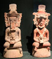 Mayan earthenware incense burners in shape of people from Tikal-area of Guatemala at Museum of Fine Arts. Boston, MA.