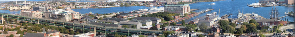 Panorama of Charlestown Navy Yard from Bunker Hill Monument. Boston, MA.