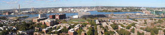 Panorama of Mystic River from Bunker Hill Monument. Boston, MA.