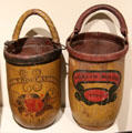 Leather fire buckets painted J. Thoreau/1794 & William Monroe/1794 the date the Concord Fire Society was incorporated at Concord Museum. Concord, MA.