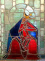Stained glass by Natalie Hammond, sister of Museum founder, at Hammond Castle Museum. Gloucester, MA.