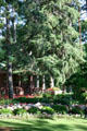 Pines & buildings of Munsinger Botanical Gardens by WPA. St. Cloud, MN.