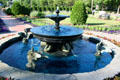 Fountain with swans in Clemens Botanical Gardens. St. Cloud, MN.