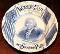 Thomas Jefferson souvenir plate with flags from 1904 St. Louis World's Fair at Chatillon-DeMenil Mansion. St. Louis, MO.