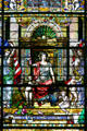 Central panel in Missouri history stained glass window at Missouri State Capitol. Jefferson City, MO.