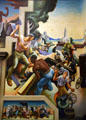 Detail of loggers, wheelwrights, slave auction, & early buildings on Social History of Missouri mural by Thomas Hart Benton at Missouri State Capitol. Jefferson City, MO.